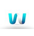 grey blue alphabet letter w logo 3d design vector image