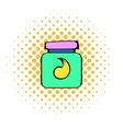 Hair gel in a plastic container icon comics style vector image