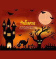 halloween night background with creepy house vector image vector image