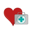 heart cartoon and first aid kit icon vector image