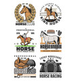 horse racing and polo icons equestrian sport vector image vector image