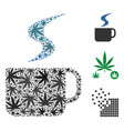hot coffee cup mosaic of hemp leaves vector image