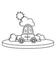 line police car service with cloud and sun vector image vector image