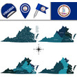map of virginia with regions vector image vector image