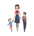 mother taking her children to school in the vector image