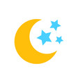 nighttime moon and stars icon in flat style lunar vector image vector image
