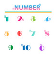 numbers from one to ten with lovely bright colors vector image