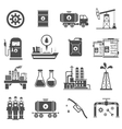 Oil Black White Icons Set vector image vector image