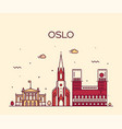 oslo city skyline norway linear style city vector image vector image