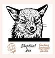 peeking skeptical fox - fox peeking out - face vector image vector image