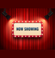 retro cinema or theater frame illuminated by vector image