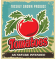 Retro tomato vintage advertising poster vector image