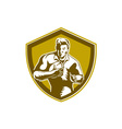 Rugby Player Running Fending Shield Retro vector image vector image