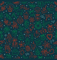 seamless pattern with winter elements in doodle vector image