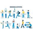set household activities in flat cartoon style vector image