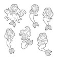 set of funny cartoon mermaids patch badge vector image vector image