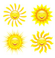 set of stylized smiling sun cartoon vector image vector image