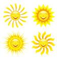 set stylized smiling sun cartoon vector image