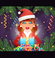 surprised cute girl hold light gift box hands new vector image vector image