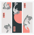 Three vertical banners with carp koi fish swimming vector image vector image