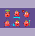 tomato characters with funny faces set cute vector image vector image