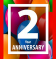 two year anniversary 2 year greeting card or vector image vector image