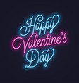 valentines day neon sign vintage valentine vector image vector image