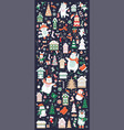 vertical banner christmas characters and elements vector image vector image