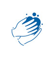washing hands with soap symbol or icon vector image
