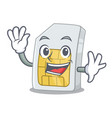 waving simcard in a character shape vector image