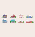 winter house building icon set on white background vector image vector image