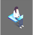 woman typing on laptop sitting on platform 3d icon vector image vector image