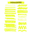yellow highlighter brush lines on white vector image vector image