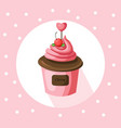 strawberry cupcake muffin vector image