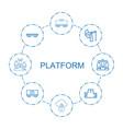 8 platform icons vector image vector image