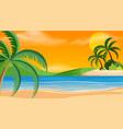 a beach sunset scene vector image vector image