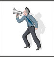 a man screaming into a megaphone vector image