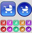 Baby Stroller icon sign A set of twelve vintage vector image