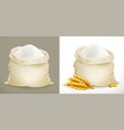 bag of flour and wheat 3d icon vector image