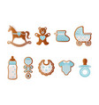 bashower gingerbreads blue cookies for boy vector image vector image