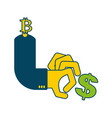 bitcoin and dollar business icon cryptocurrency vector image vector image