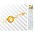 bitcoin up trend flat icon with bonus vector image vector image