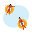 Black african young man and woman floating on vector image