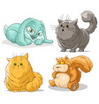 cartoon cute funny little cat rabbit and squirrel vector image