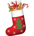 Christmas sock full of gifts vector image vector image