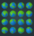 collection planet earth icons in modern low vector image vector image