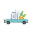 colored kids transport with cute little bunny vector image vector image