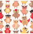 colorful seamless pattern with funny smart owls on vector image vector image