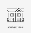 country house flat line icon thin sign of vector image