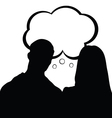 Couple with speech bubble silhouette in black